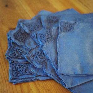 Serviettes en coton avec dentelle vintage