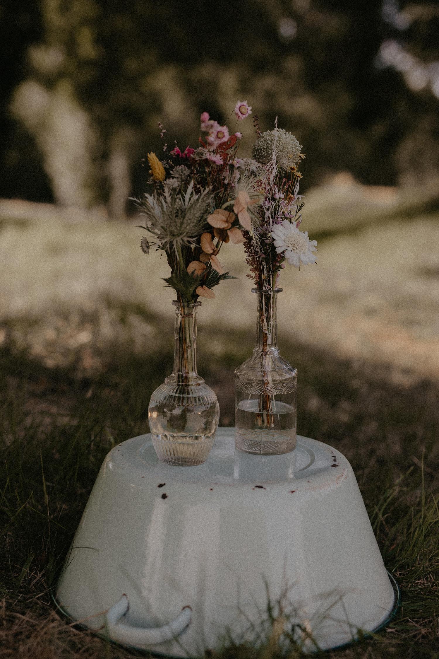 Soliflore vintage vases mariage