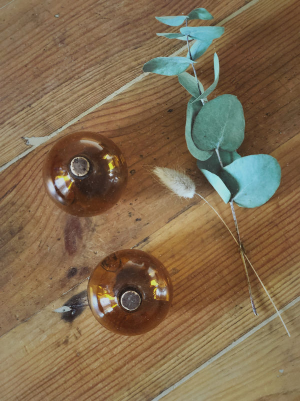 Mini jarre en verre marron salière vintage