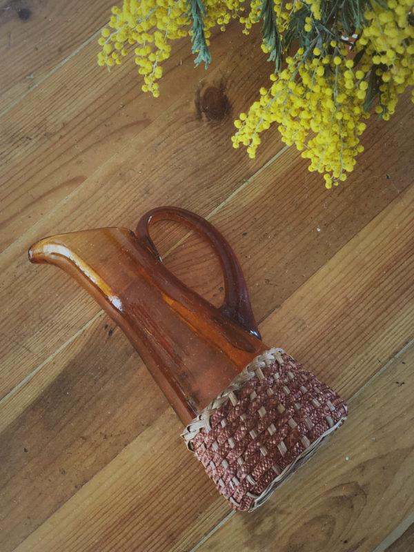 Pichet vintage carafe marron osier