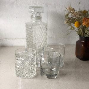 Carafe et verres à whisky vintage