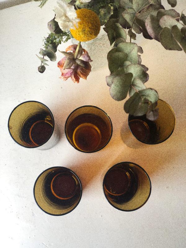 Verres long drink orangeade vintage ambrés