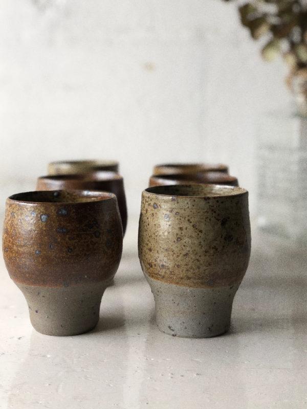 tasse mug verre en grès vintage